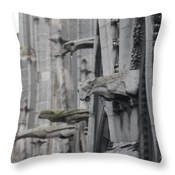 Throw Pillow featuring the photograph Gargoyles North Notre Dame by Christopher Kirby