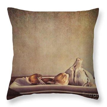 Garlic Cloves Throw Pillow by Priska Wettstein