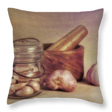 Garlic In A Jar Throw Pillow