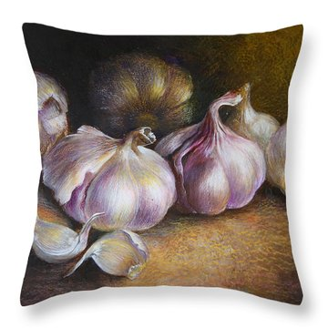 Garlic Painting Throw Pillow