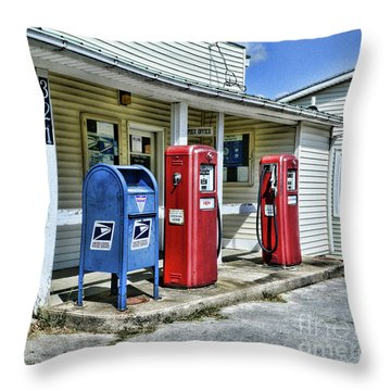 Gas And Mail Throw Pillow by Paul Ward