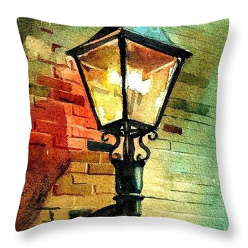 Gas Lamp Throw Pillow by Spencer Meagher