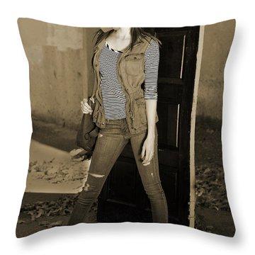 Gas Mask Girl  Throw Pillow