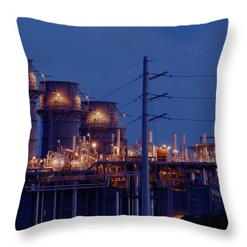 Throw Pillow featuring the photograph Gas Power Plant At Night by Bradford Martin