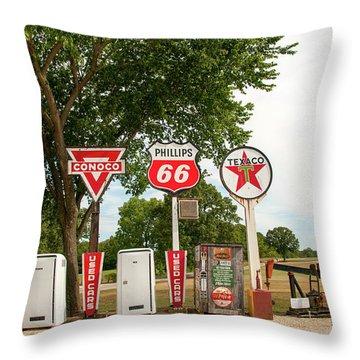 Gas Signage Throw Pillow