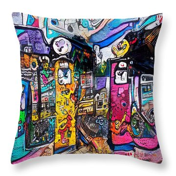 Throw Pillow featuring the digital art Gas Station by Mark Taylor