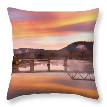 Gasconade River Sunrise Throw Pillow by Jae Mishra