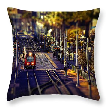 Gaslamp Trolley Stop San Diego Throw Pillow