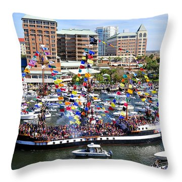 Gasparilla And Harbor Island Florida Throw Pillow by David Lee Thompson