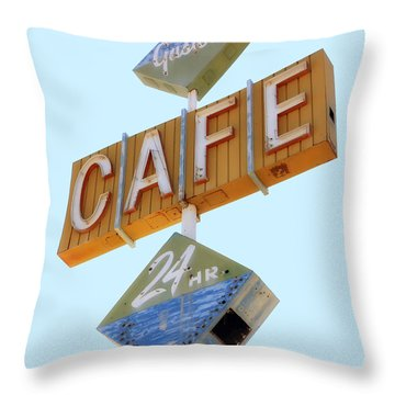 Gaston's Cafe Neon Sign Throw Pillow