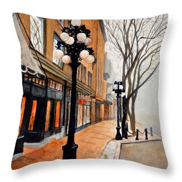 Throw Pillow featuring the painting Gastown, Vancouver by Sher Nasser
