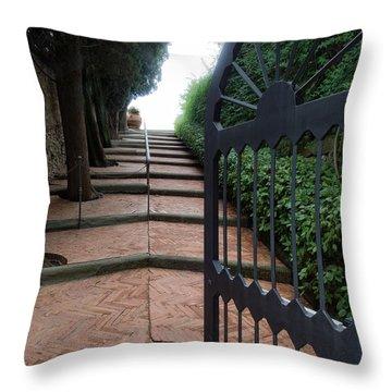 Gate To Castello Vichiamaggio Throw Pillow