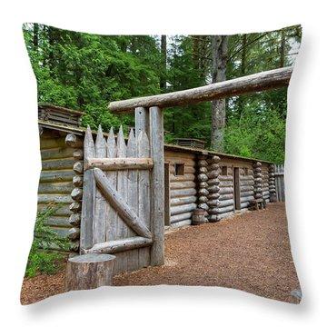 Gate To Log Camp At Fort Clatsop Throw Pillow