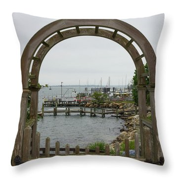 Gate To Noank Harbor Throw Pillow