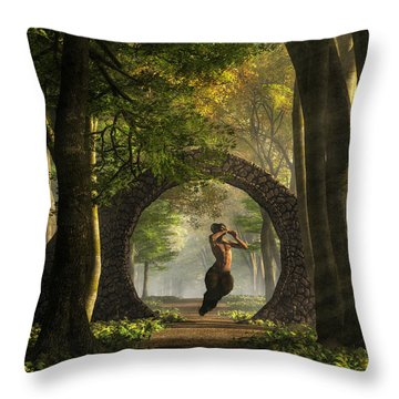 Gate To Pan's Garden Throw Pillow