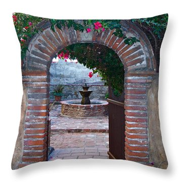 Gate To The Sacred Garden And Bell Wall Mission San Juan Capistrano California Throw Pillow by Karon Melillo DeVega