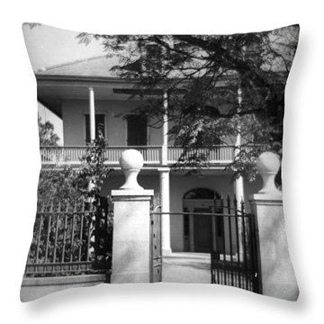 Gated Colonial Home Throw Pillow