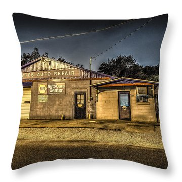Throw Pillow featuring the photograph Gates Auto Repair by David Morefield
