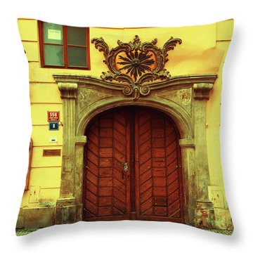 Throw Pillow featuring the photograph Gates Of Sun. Series Golden Prague by Jenny Rainbow