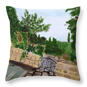 Throw Pillow featuring the painting Gate's Open, Come In by Linda Feinberg