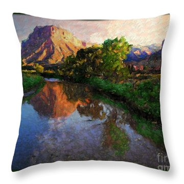 Gateway Colorado Mesa By River Throw Pillow by Annie Gibbons