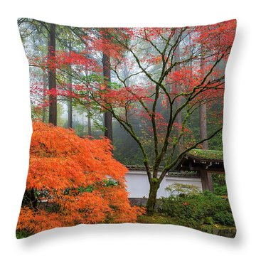 Gateway To Portland Japanese Garden Throw Pillow