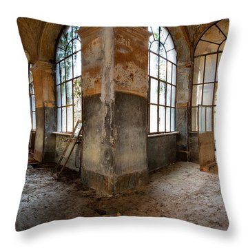 Gateway To Sanity - Abandoned Building Throw Pillow