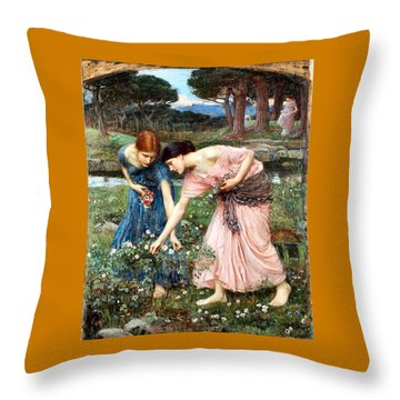 Gather Ye Rosebuds While Ye May Throw Pillow