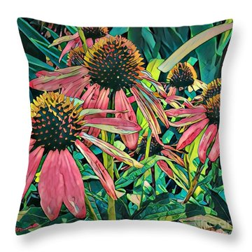 Gathering Of Coneflowers Throw Pillow