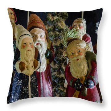 Gathering Of Father Christmas Throw Pillow