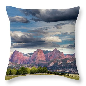 Gathering Storm Over The Fingers Of Kolob Throw Pillow