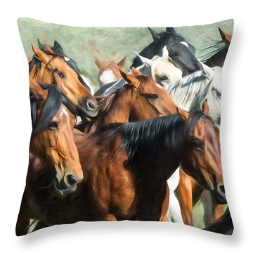 Gathering The Herd Throw Pillow