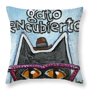 Throw Pillow featuring the painting Gato Encubierto by Rick Baldwin