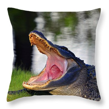Throw Pillow featuring the photograph Gator Gullet by Al Powell Photography USA