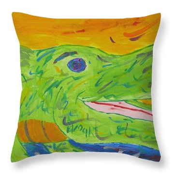 Gator In Bloom Throw Pillow