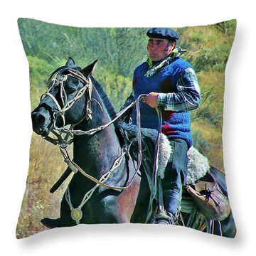 Throw Pillow featuring the photograph Gaucho On Horse by Michele Penner