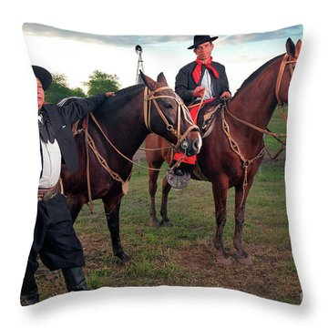 Throw Pillow featuring the photograph Gauchos by Bernardo Galmarini