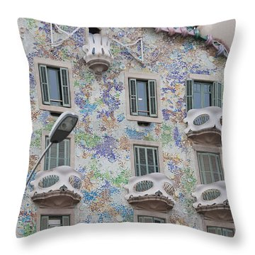 Gaudi Apartment Building Throw Pillow