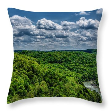 Gauley River Canyon And Clouds Throw Pillow