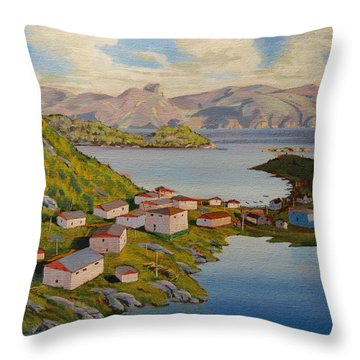 Gaultois Village Newfoundland Throw Pillow by David Gilmore