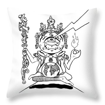 Gautama Buddha Black And White Throw Pillow