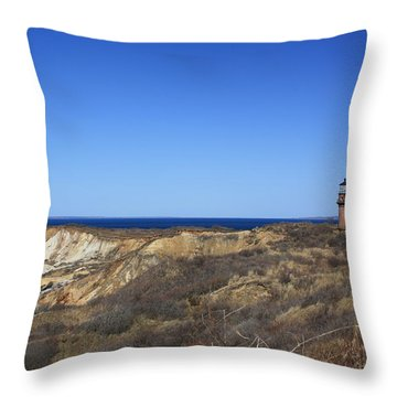 Throw Pillow featuring the photograph Gay Head Lighthouse And Cliffs by Greg DeBeck