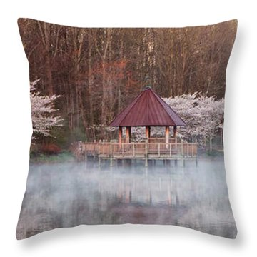 Gazebo And Cherry Trees Throw Pillow
