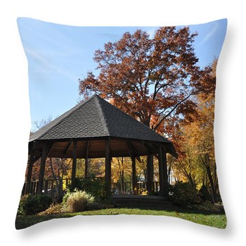 Gazebo At North Ridgeville - Autumn Throw Pillow