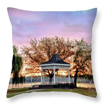 Gazebo Sunrise At Claytor Lake Throw Pillow