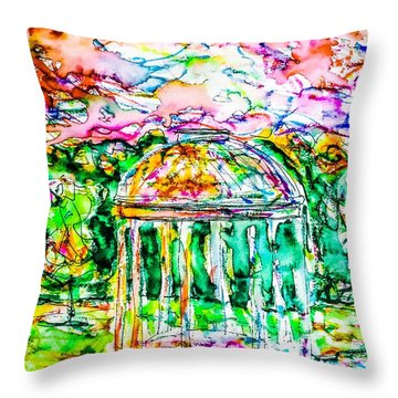 Throw Pillow featuring the painting Gazebo Sunset by Monique Faella