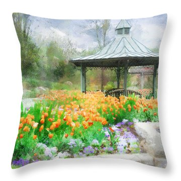 Throw Pillow featuring the digital art Gazebo With Tulips by Francesa Miller