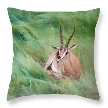 Gazelle In The Grass Throw Pillow