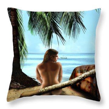 Gazing At The Ocean Throw Pillow