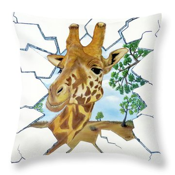 Throw Pillow featuring the painting Gazing Giraffe by Teresa Wing